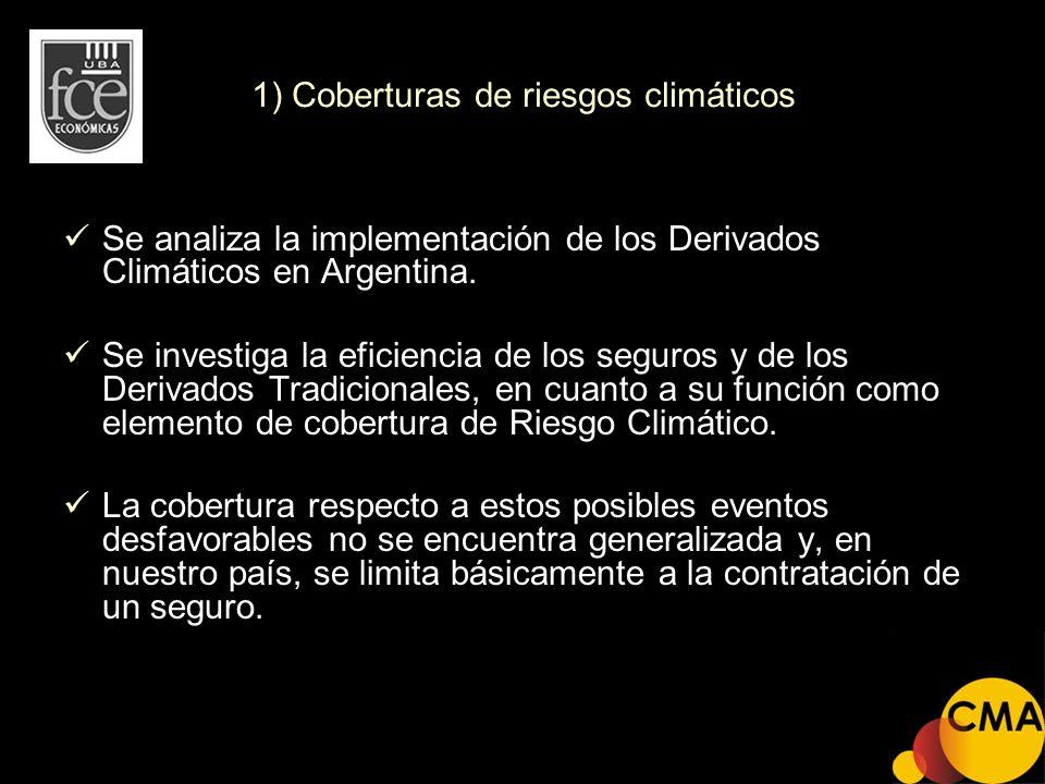 1) Coberturas de riesgos climáticos Se analiza la implementación de los Derivados Climáticos en Argentina. Se investiga la eficiencia de los seguros y