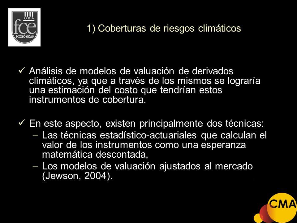 1) Coberturas de riesgos climáticos Análisis de modelos de valuación de derivados climáticos, ya que a través de los mismos se lograría una estimación