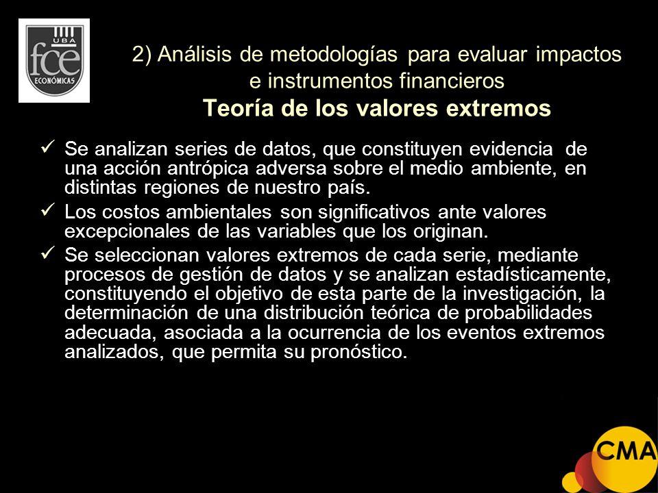 2) Análisis de metodologías para evaluar impactos e instrumentos financieros Teoría de los valores extremos Se analizan series de datos, que constituy