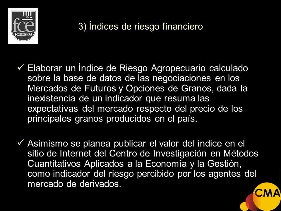 3) Índices de riesgo financiero Elaborar un Índice de Riesgo Agropecuario calculado sobre la base de datos de las negociaciones en los Mercados de Fut