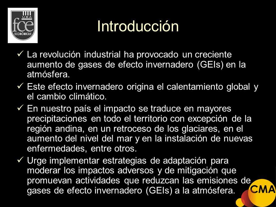 Introducción La revolución industrial ha provocado un creciente aumento de gases de efecto invernadero (GEIs) en la atmósfera. Este efecto invernadero