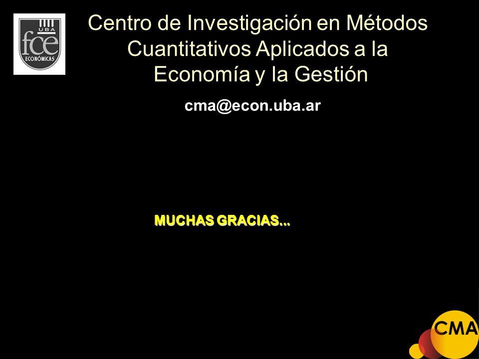 Centro de Investigación en Métodos Cuantitativos Aplicados a la Economía y la Gestión MUCHAS GRACIAS... cma@econ.uba.ar