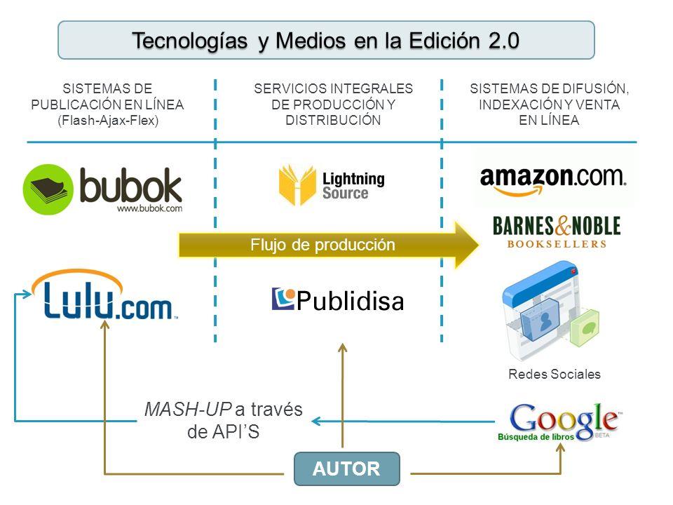 SISTEMAS DE PUBLICACIÓN EN LÍNEA (Flash-Ajax-Flex) SERVICIOS INTEGRALES DE PRODUCCIÓN Y DISTRIBUCIÓN SISTEMAS DE DIFUSIÓN, INDEXACIÓN Y VENTA EN LÍNEA MASH-UP a través de APIS Tecnologías y Medios en la Edición 2.0 Redes Sociales AUTOR Flujo de producción