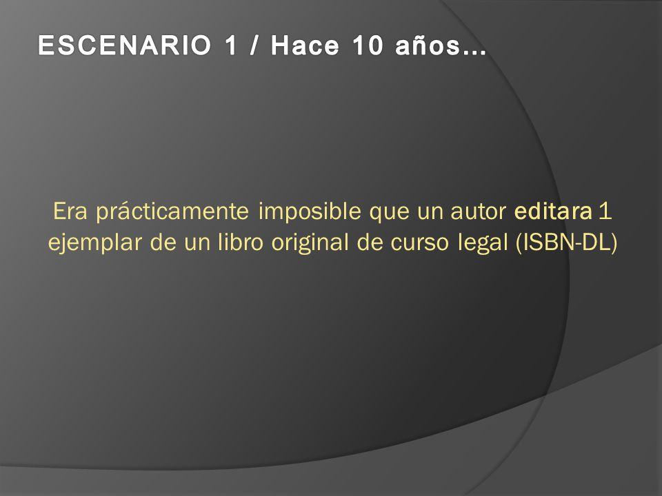 Era prácticamente imposible que un autor editara 1 ejemplar de un libro original de curso legal (ISBN-DL)