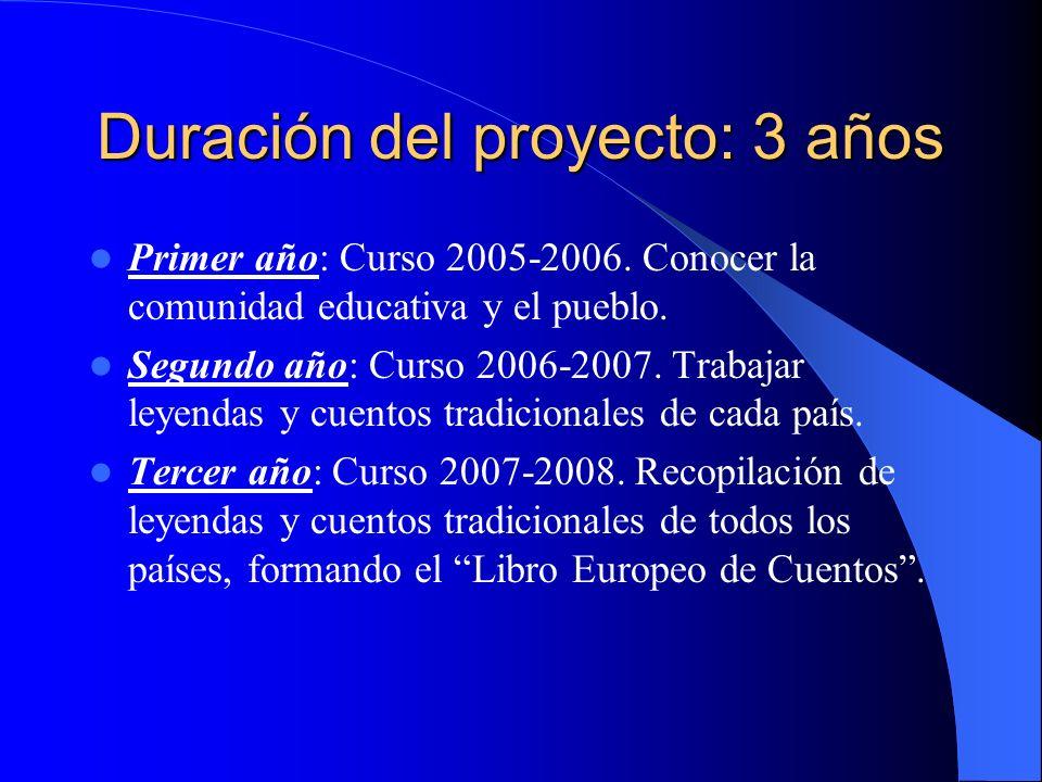 Duración del proyecto: 3 años Primer año: Curso 2005-2006.