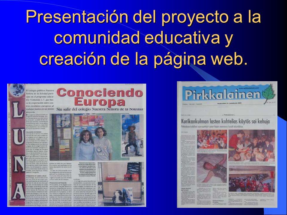 Presentación del proyecto a la comunidad educativa y creación de la página web.