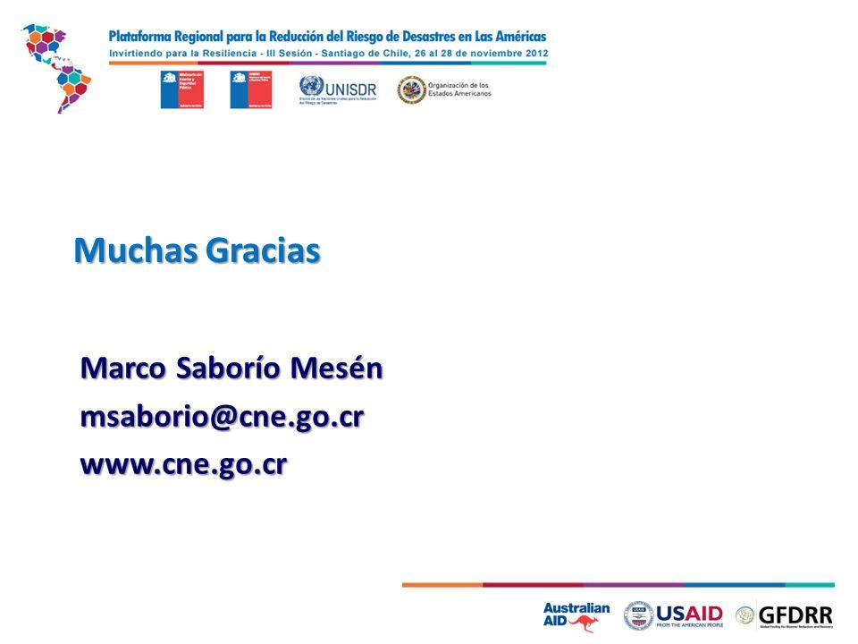 Muchas Gracias Marco Saborío Mesén msaborio@cne.go.crwww.cne.go.cr