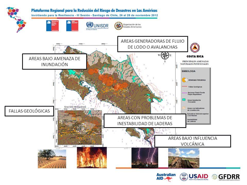 AREAS BAJO AMENAZA DE INUNDACIÓN AREAS CON PROBLEMAS DE INESTABILIDAD DE LADERAS AREAS GENERADORAS DE FLUJO DE LODO O AVALANCHAS FALLAS GEOLÓGICAS AREAS BAJO INFLUENCIA VOLCÁNICA