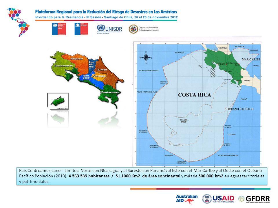 País Centroamericano : Límites: Norte con Nicaragua y al Sureste con Panamá; al Este con el Mar Caribe y al Oeste con el Océano Pacífico Población (2010): 4 563 539 habitantes / 51.1000 Km2 de área continental y más de 500.000 km2 en aguas territoriales y patrimoniales.
