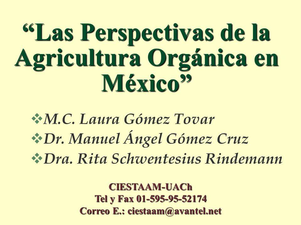 Las Perspectivas de la Agricultura Orgánica en México M.C. Laura Gómez Tovar Dr. Manuel Ángel Gómez Cruz Dra. Rita Schwentesius Rindemann CIESTAAM-UAC