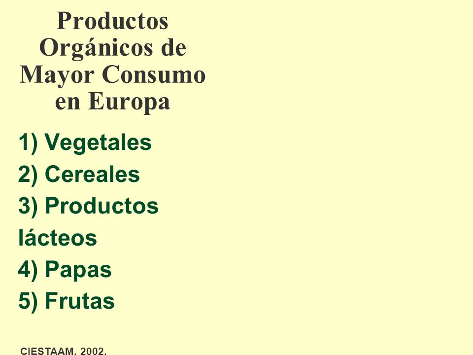 Productos Orgánicos de Mayor Consumo en Europa 1) Vegetales 2) Cereales 3) Productos lácteos 4) Papas 5) Frutas CIESTAAM, 2002.