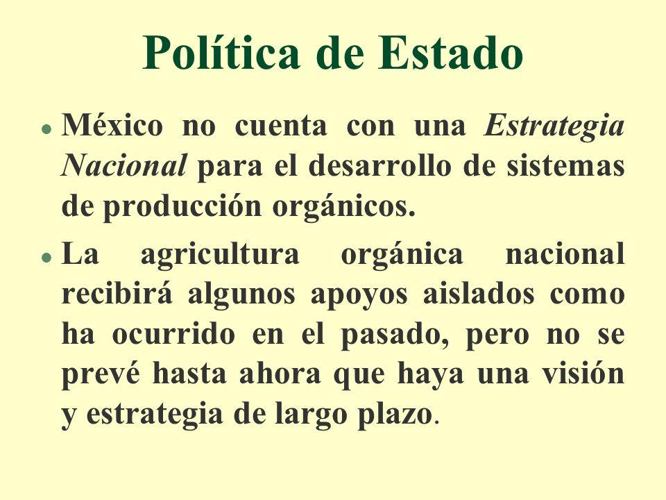 Política de Estado l México no cuenta con una Estrategia Nacional para el desarrollo de sistemas de producción orgánicos. l La agricultura orgánica na