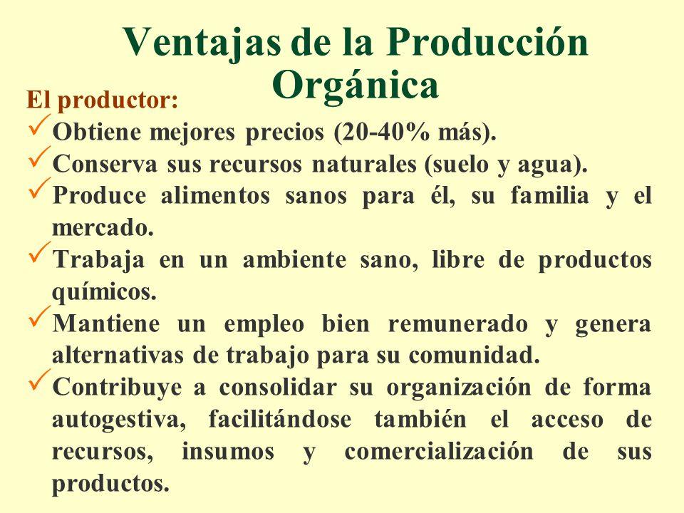 Ventajas de la Producción Orgánica El productor: Obtiene mejores precios (20-40% más). Conserva sus recursos naturales (suelo y agua). Produce aliment