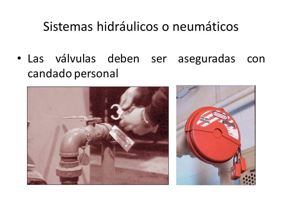Sistemas hidráulicos o neumáticos Las válvulas deben ser aseguradas con candado personal