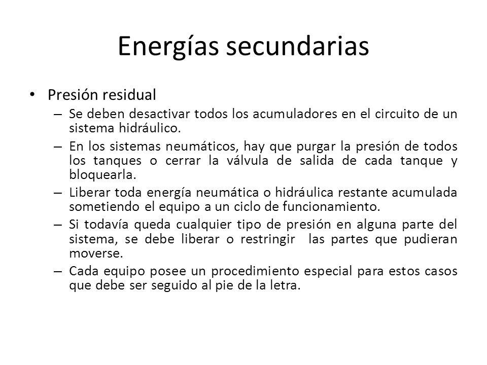 Energías secundarias Presión residual – Se deben desactivar todos los acumuladores en el circuito de un sistema hidráulico. – En los sistemas neumátic
