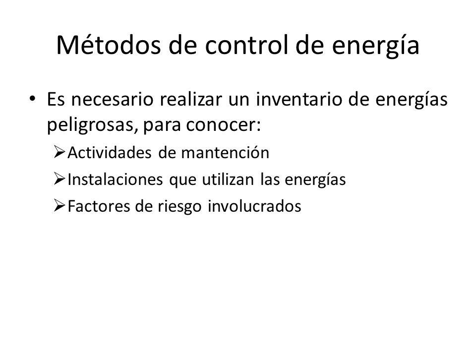 Métodos de control de energía Es necesario realizar un inventario de energías peligrosas, para conocer: Actividades de mantención Instalaciones que ut