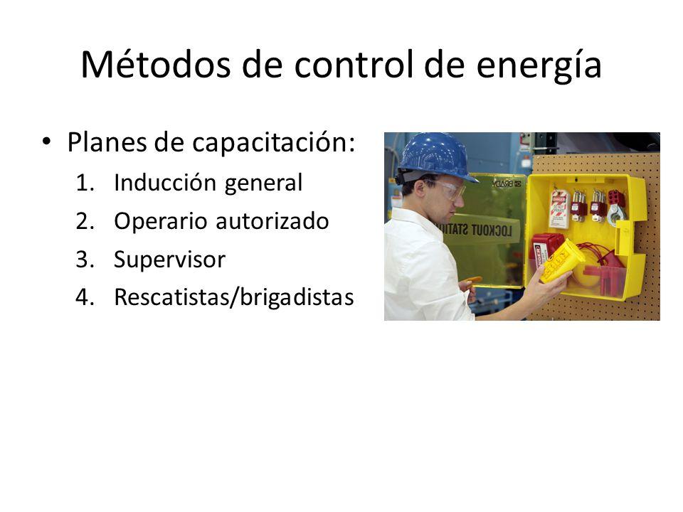Métodos de control de energía Planes de capacitación: 1.Inducción general 2.Operario autorizado 3.Supervisor 4.Rescatistas/brigadistas