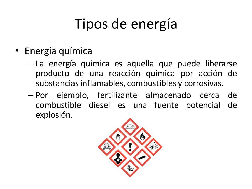 Tipos de energía Energía química – La energía química es aquella que puede liberarse producto de una reacción química por acción de substancias inflam