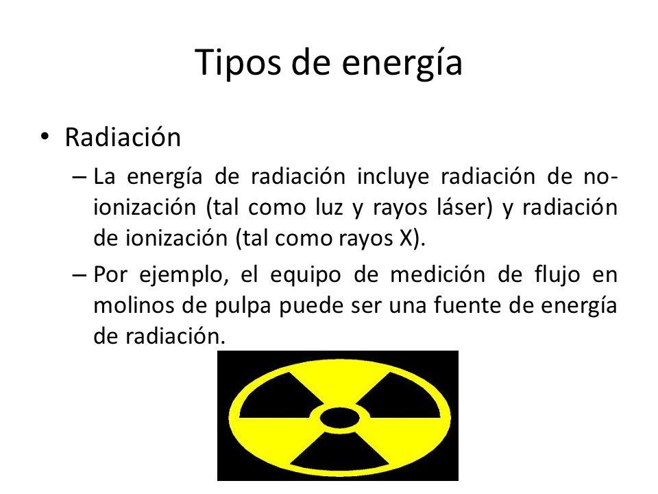 Tipos de energía Radiación – La energía de radiación incluye radiación de no- ionización (tal como luz y rayos láser) y radiación de ionización (tal c