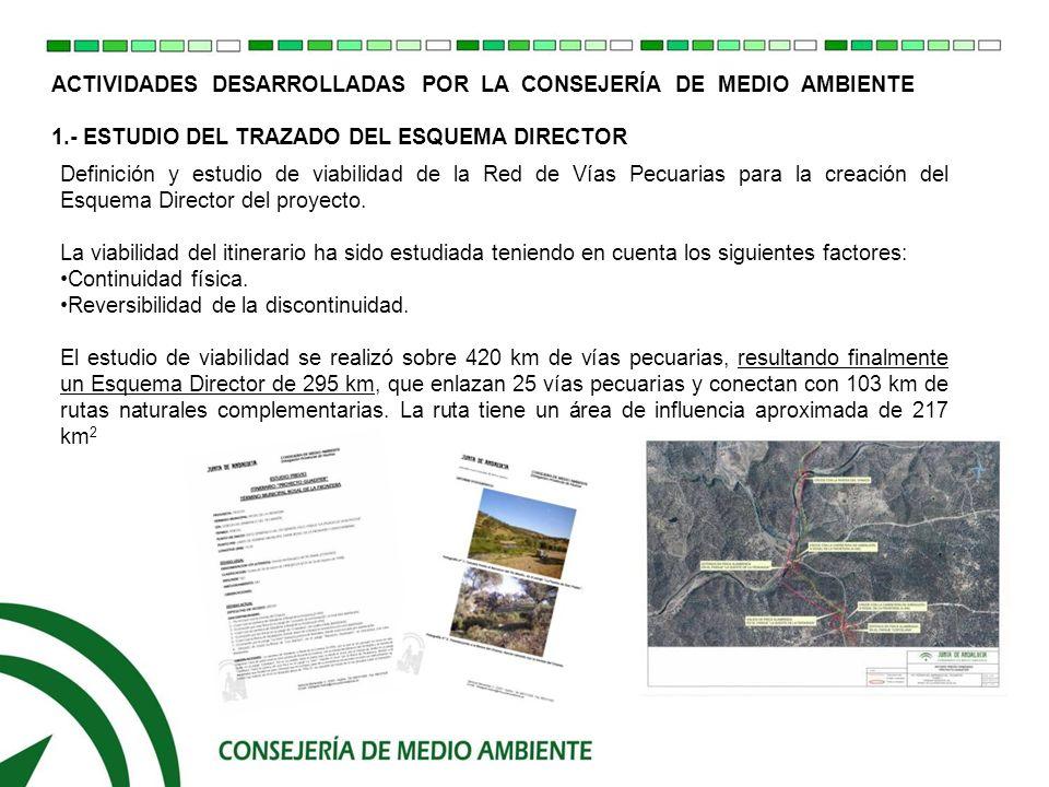 ACTIVIDADES DESARROLLADAS POR LA CONSEJERIA DE MEDIO AMBIENTE 1.1.- ESQUEMA DIRECTOR Molino de la Cirujana- Vereda de la Aldea (Paymogo) Descansadero-Abrevadero de Santa Clara (Ayamonte) Puente de los Cabriles - Colada del Camino de la Contienda (Encinasola) Descansadero-Abrevadero del Pilar de Acá (Encinasola) Molino de Vilán – Vereda del Camino de la Zaballa (San Silvestre de Guzmán)