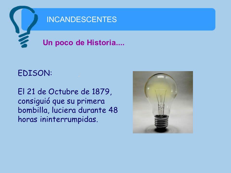 INCANDESCENTES Un poco de Historia.... EDISON: El 21 de Octubre de 1879, consiguió que su primera bombilla, luciera durante 48 horas ininterrumpidas.
