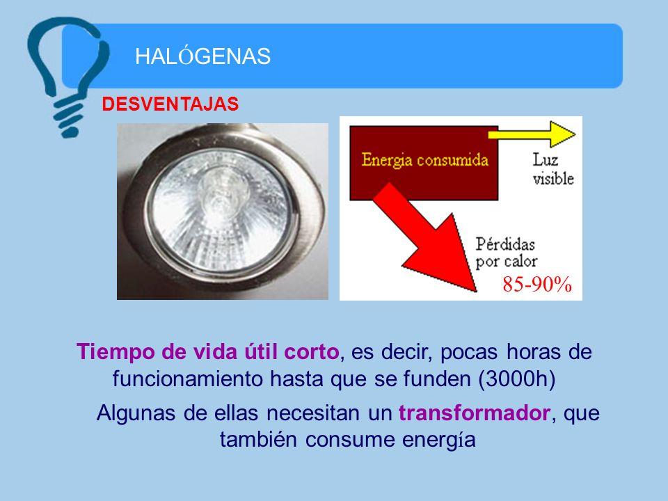 HAL Ó GENAS Algunas de ellas necesitan un transformador, que también consume energ í a DESVENTAJAS 85-90% Tiempo de vida útil corto, es decir, pocas h