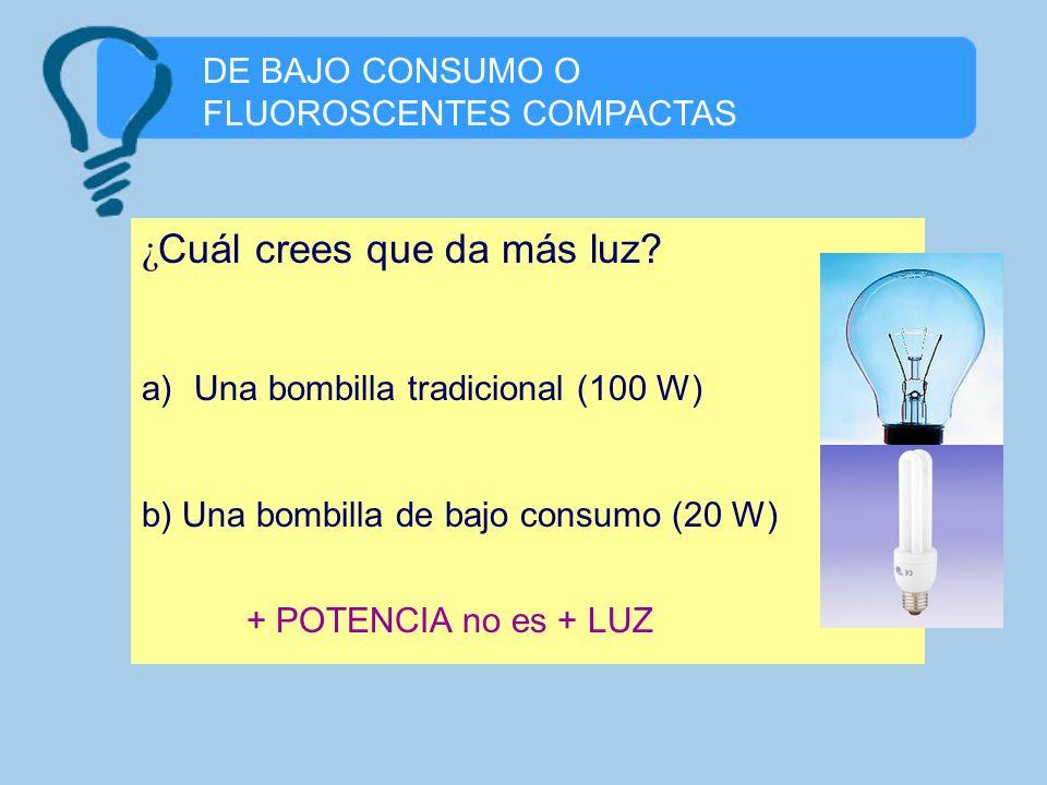 DE BAJO CONSUMO O FLUOROSCENTES COMPACTAS ¿ Cuál crees que da más luz? a)Una bombilla tradicional (100 W) b) Una bombilla de bajo consumo (20 W) + POT