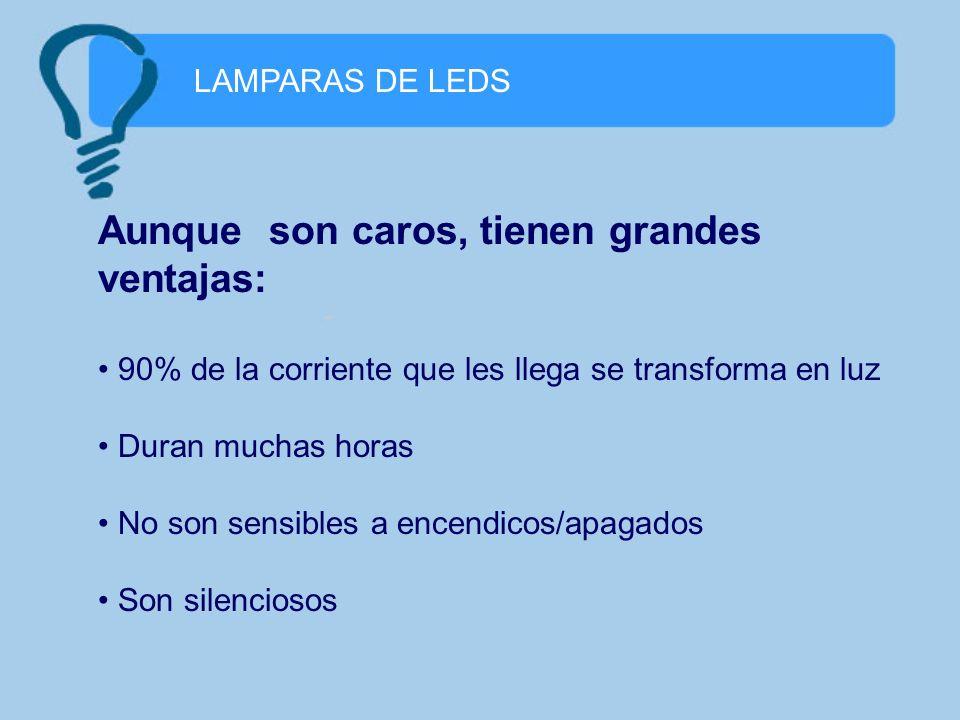 LAMPARAS DE LEDS Aunque son caros, tienen grandes ventajas: 90% de la corriente que les llega se transforma en luz Duran muchas horas No son sensibles