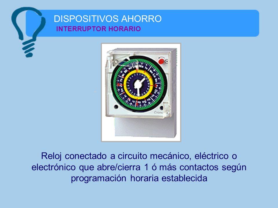 INTERRUPTOR HORARIO Reloj conectado a circuito mecánico, eléctrico o electrónico que abre/cierra 1 ó más contactos según programación horaria establec