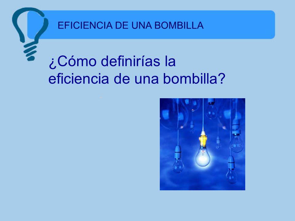 EFICIENCIA DE UNA BOMBILLA ¿Tocarías una bombilla encendida ?