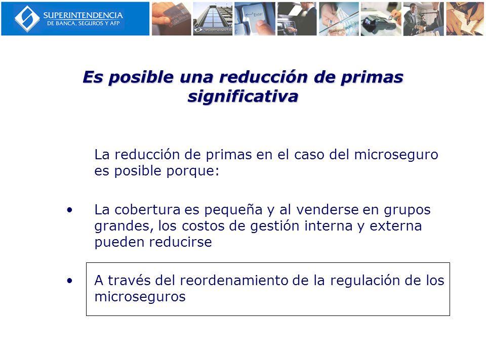 Es posible una reducción de primas significativa La reducción de primas en el caso del microseguro es posible porque: La cobertura es pequeña y al ven