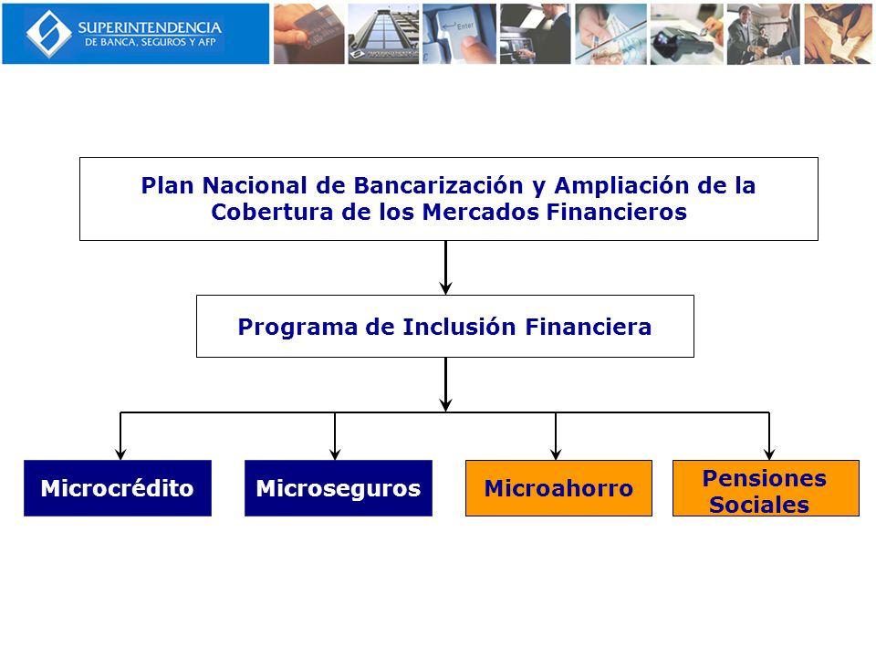 Plan Nacional de Bancarización y Ampliación de la Cobertura de los Mercados Financieros Programa de Inclusión Financiera MicrocréditoMicrosegurosMicro