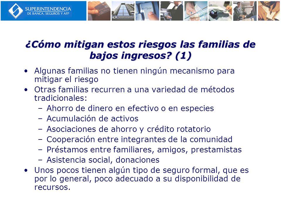 ¿Cómo mitigan estos riesgos las familias de bajos ingresos? (1) Algunas familias no tienen ningún mecanismo para mitigar el riesgo Otras familias recu