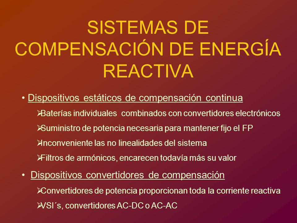 LOCALIZACIÓN DE LOS COMPENSADORES DE POTENCIA REACTIVA EN PARQUES EÓLICOS La compensación de una instalación eólica puede presentarse en: Subestación Aerogeneradores Mixta