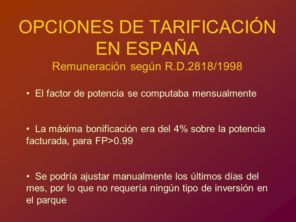 OPCIONES DE TARIFICACIÓN EN ESPAÑA Remuneración según R.D.2818/1998 El factor de potencia se computaba mensualmente La máxima bonificación era del 4%