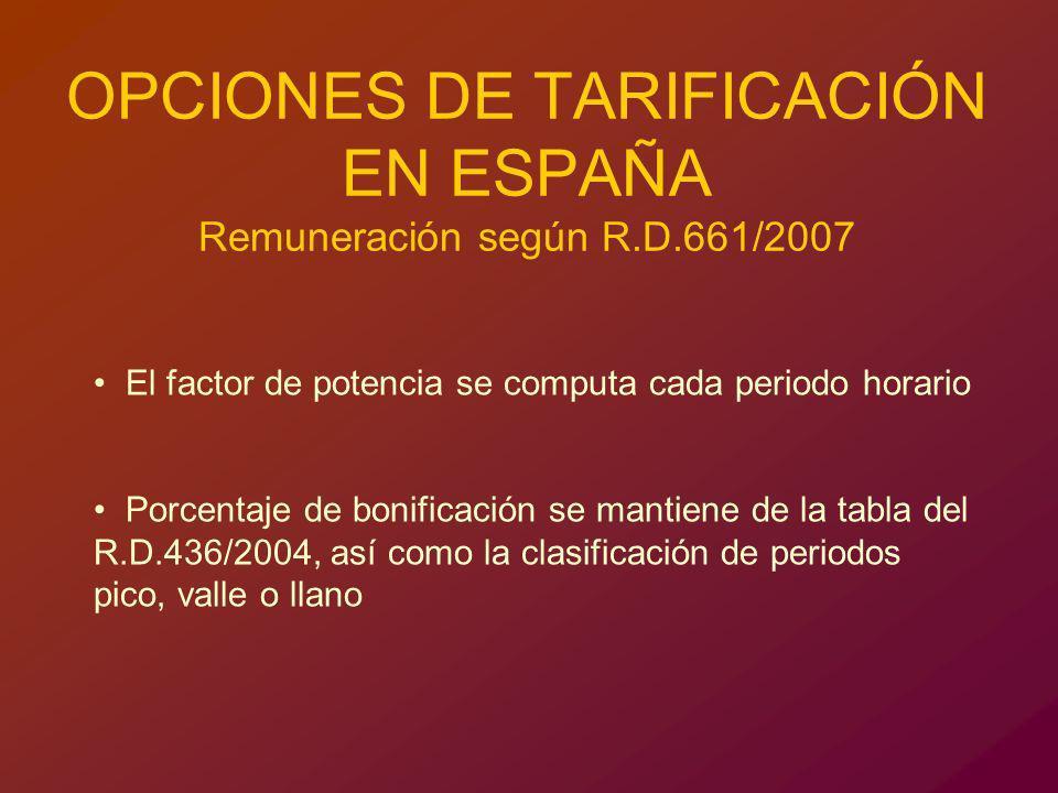 OPCIONES DE TARIFICACIÓN EN ESPAÑA Remuneración según R.D.661/2007 El factor de potencia se computa cada periodo horario Porcentaje de bonificación se