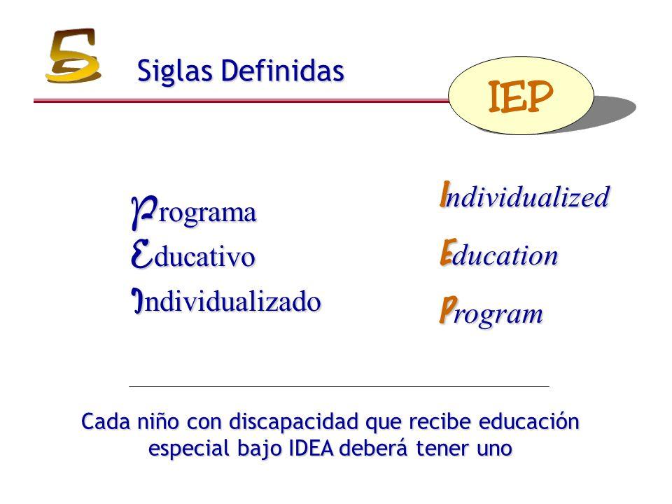 I ndividualized E ducation P rogram Cada niño con discapacidad que recibe educación especial bajo IDEA deberá tener uno IEP P rograma E ducativo I ndividualizado