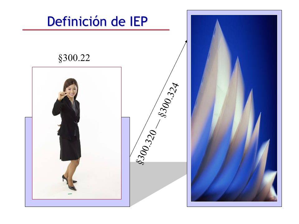 Definición de IEP §300.22 §300.320 §300.324