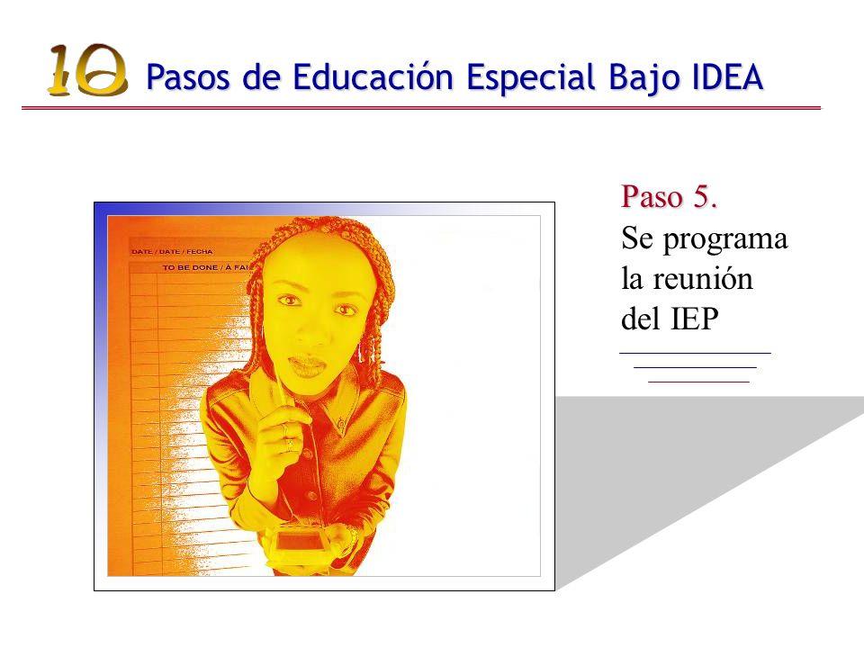 Paso 5. Paso 5. Se programa la reunión del IEP Pasos de Educación Especial Bajo IDEA