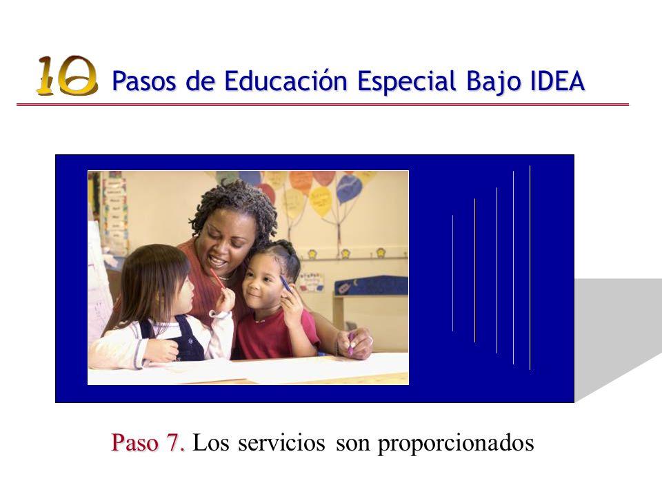 Paso 7. Paso 7. Los servicios son proporcionados Pasos de Educación Especial Bajo IDEA