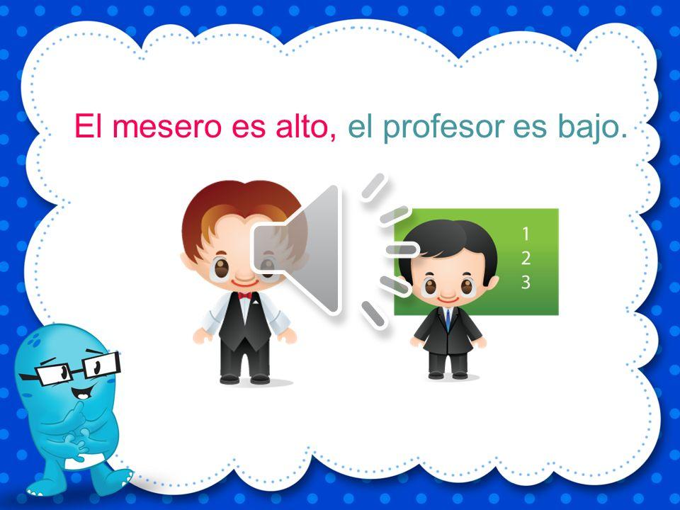 El mesero es alto, el profesor es bajo.