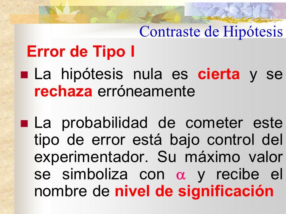 Contraste de Hipótesis Frente a una hipótesis nula se toma una decisión o Aceptar H 0 Es correcto si H 0 es verdadera pero incorrecto si fuese falsa Rechazar H 0 Es correcto si H 0 es falsa pero incorrecto si fuese verdadera Errores