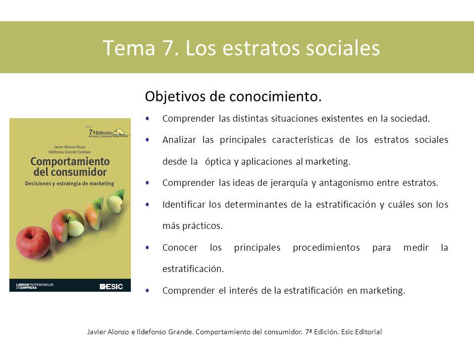 Tema 7. Los estratos sociales Objetivos de conocimiento. Comprender las distintas situaciones existentes en la sociedad. Analizar las principales cara