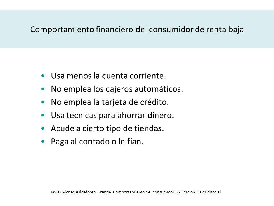 Comportamiento financiero del consumidor de renta baja Usa menos la cuenta corriente. No emplea los cajeros automáticos. No emplea la tarjeta de crédi