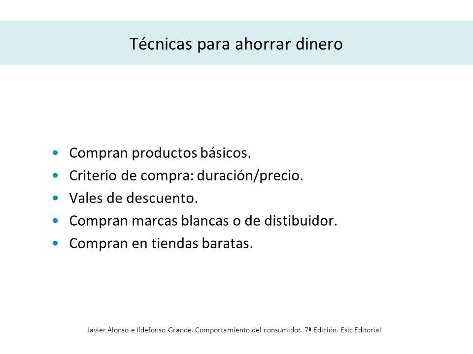 Técnicas para ahorrar dinero Compran productos básicos. Criterio de compra: duración/precio. Vales de descuento. Compran marcas blancas o de distibuid
