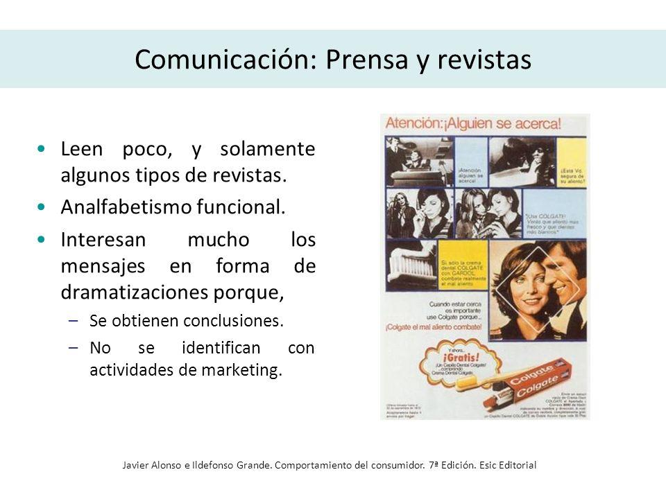 Comunicación: Prensa y revistas Leen poco, y solamente algunos tipos de revistas. Analfabetismo funcional. Interesan mucho los mensajes en forma de dr