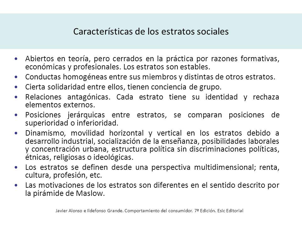 Características de los estratos sociales Abiertos en teoría, pero cerrados en la práctica por razones formativas, económicas y profesionales. Los estr