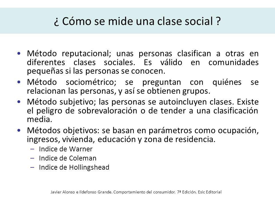 ¿ Cómo se mide una clase social ? Método reputacional; unas personas clasifican a otras en diferentes clases sociales. Es válido en comunidades pequeñ