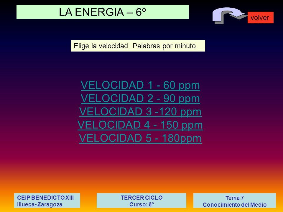 LA ENERGIA – 6º volver Tema 7 Conocimiento del Medio CEIP BENEDICTO XIII Illueca- Zaragoza TERCER CICLO Curso: 6º VELOCIDAD 1 - 60 ppm VELOCIDAD 2 - 9