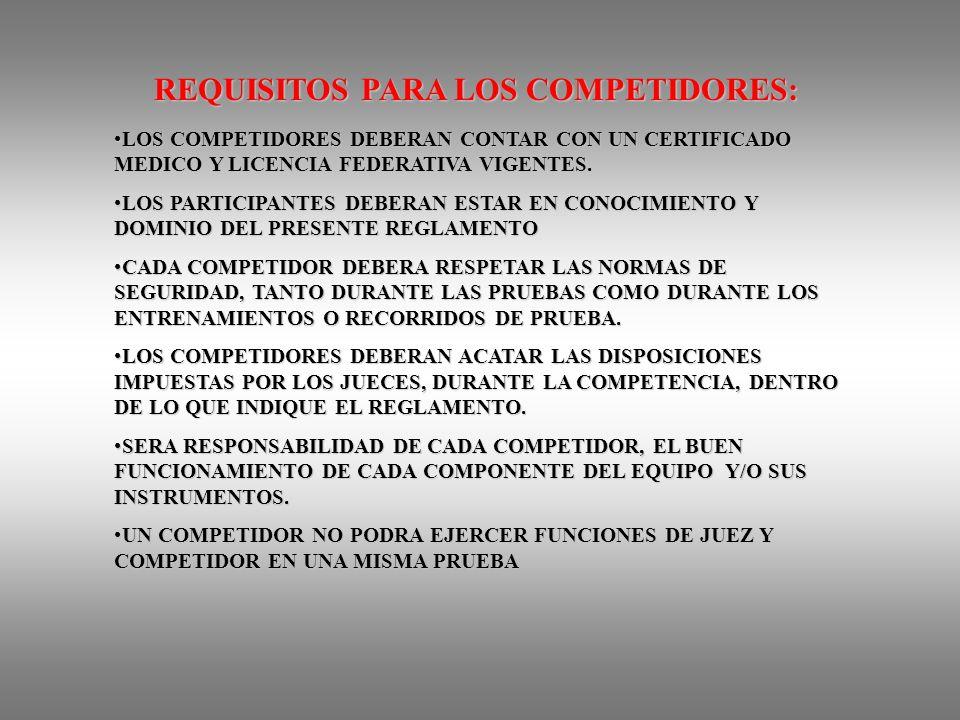 REQUISITOS PARA LOS COMPETIDORES: LOS COMPETIDORES DEBERAN CONTAR CON UN CERTIFICADO MEDICO Y LICENCIA FEDERATIVA VIGENTES.LOS COMPETIDORES DEBERAN CONTAR CON UN CERTIFICADO MEDICO Y LICENCIA FEDERATIVA VIGENTES.